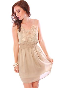 BB Dakota by Jack Azura Beige Lace Dress | Wedding guest dresses ...