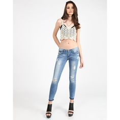 Cropped Ankle Skinny Jeans ($27) ❤ liked on Polyvore featuring jeans, white cropped skinny jeans, destructed skinny jeans, white distressed jeans, distressed skinny jeans and white distressed skinny jeans