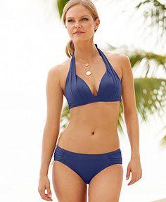DKNY Pleated Halter Bikini Top & Side-Tab Bikini Bottom