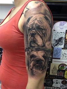 Hondentatoeage door JP Wikman Bulldog-tattoo Source by Boxer Dog Tattoo, Dog Tattoos, Animal Tattoos, Girl Tattoos, Sleeve Tattoos, Tatoos, Family Tattoos, Cat Tattoo, Tattoos Schulter
