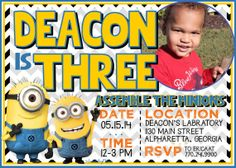 CUSTOM Despicable Me Minion Birthday Invitation by sweetleighmama, $7.00