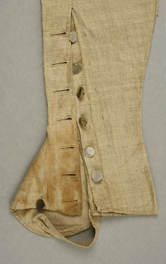 Gaitered trousers, made of linen ca. 1793 at the Metropolitan Museum of Art, New York.