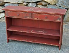 Primitives -Primitive country Furniture-Primitive painted furniture LOVE THIS! Primitive Homes, Primitive Antiques, Primitive Crafts, Country Primitive, Primitive Shelves, Primitive Pillows, Primitive Quilts, Primitive Painted Furniture, Country Furniture