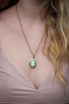 Turquoise Blue Cameo Necklace Aqua Blue Cameo Oval Locket Pendant Gold Brass Locket Romantic Jewellery Vintage Style Photo Locket Keepsake