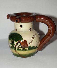 Souvenir of Nova Scotia, Puzzle Jug, Torquay Type Pottery
