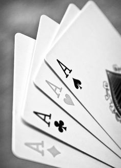 Aces, success, playing cards, B&W