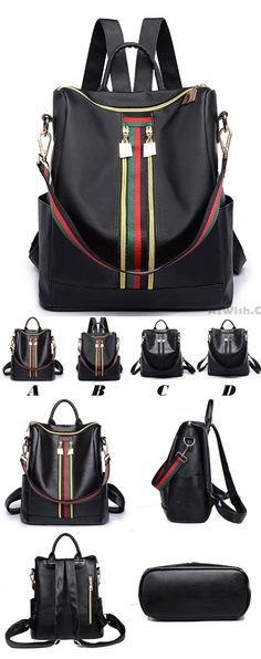 Retro Green Red Stripe Double Zipper Girl s PU Multifunction Handbag  Shoulder Bag School Backpack  school 1e42b22048a43