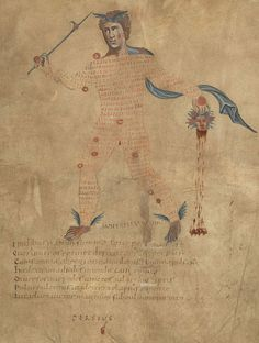 British Library, Harley 647, f.4r (Perseus and the head of Medusa). Marcus Tullius Cicero. Aratea, with extracts from Hyginus's Astronomica in the constellation figures. Northern France (diocese of Reims), 9th century.