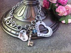 Personalized Hand Stamped Wedding Anniversary date  Keepsake  Key Heart Toggle Clasp Bracelet