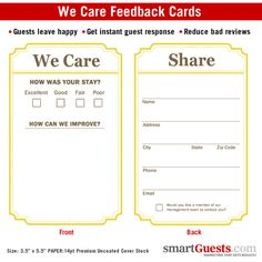 We Care Cards. Comment cards to get direct guest feedback