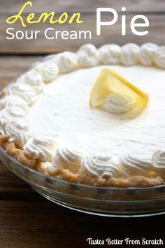 The BEST Lemon Sour Cream Pie on MyRecipeMagic.com #lemon #pie