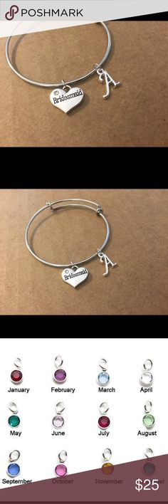 Bridesmaid bracelet Silver plated  Add your initials from A to Z. Add a birthstone    Your graduate believed they can do it and they can. Order this has a great gift  Handmade with care  Ships fast from the US Jewelry Bracelets