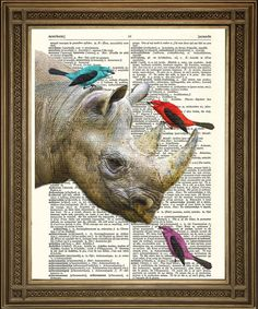 RHINO WITH BIRDS: Friends Vintage Dictionary Page Art Print 8