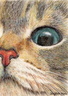 cat drawing art print - cat eye ginger tabby cat lover gift unique card artwork , #jingfenhwu