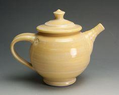 Sale  Handmade teapot  porcelain yellow tea pot by BlueParrotPots, $40.00
