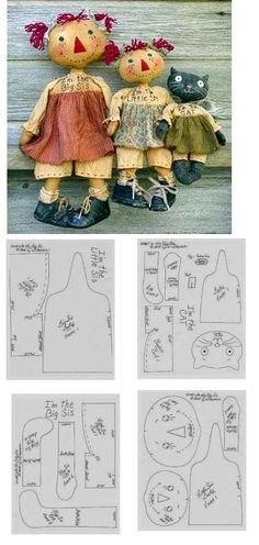 Super Ideas For Sewing Dolls Patterns Raggedy Ann Primitive Doll Patterns, Primitive Crafts, Doll Crafts, Sewing Crafts, Sewing Projects, Homemade Dolls, Ann Doll, Paperclay, Sewing Dolls