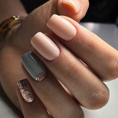 Peachy Nude Mani with Grey and Rose Gold Glitter Half Moon and Rose Gold Glitter Accents