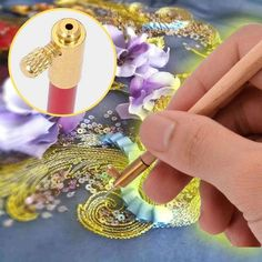 Its comfortable contoured handle shape makes your beads and tambour lace embroidery more comfortable and beautiful! Tambour Beading, Tambour Embroidery, Ribbon Embroidery, Beaded Embroidery, Bead Embroidery Jewelry, Bead Embroidery Tutorial, Hand Embroidery Designs, Embroidery Patterns, Sewing Patterns