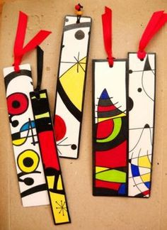 Bookmarks in the style of Joan Miró Club D'art, Arte Elemental, Kids Crafts, Arts And Crafts, Classe D'art, 6th Grade Art, School Art Projects, Art Club Projects, Mondrian Art Projects
