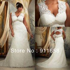 Vintage V-neck A-line Lace Open Back Wedding Dress 2013 Beaded Court Train Plus Size Bridal Gown $289.00