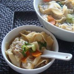 Wonton Soup. We made it with boneless pork and added lots of fresh veggies! Quite tasty!