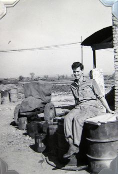 World War Two, United States Army Air Force (U.S.A.A.F.), 5th Photo Reconnaissance Group, 4th Photo Squadron, Cpl. Donald Krasno (Photo Lab Tech), behind the photo lab, Italy, 1944