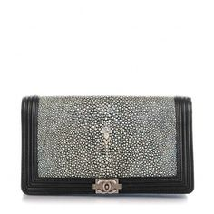 CHANEL Metallic Galuchat Stingray Lambskin Yen Wallet Silver Black ❤ liked on Polyvore featuring bags, wallets, metallic wallet, chanel wallet, chanel bags, snap bag and snap closure wallet