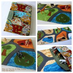 Safari Zoo Play On The Go Play Scene © Travel Playmat by The Old Button £42