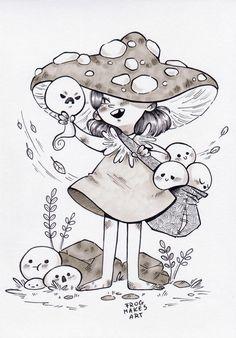 Inktober day Seasonal witch by FrogMakesArt on DeviantArt Mushroom Drawing, Mushroom Art, Cute Little Drawings, Art Drawings For Kids, Art Inspiration Drawing, Art Inspo, Character Art, Character Design, Frog Art