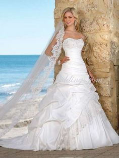 Western A-Line Sweetheart Chapel Train Taffeta Beach Wedding Dress