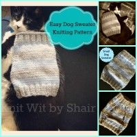The lady that created this pattern has a small dog named Linus who is about 7 lbs. While knitting this dog sweater I thought it would for sure fit on my cat, as he is pretty skinny, and it stretches Knitted Dog Sweater Pattern, Knit Dog Sweater, Knitted Cat, Dog Pattern, Small Dog Coats, Small Dog Sweaters, Cat Sweaters, Small Dogs, Knitting Patterns For Dogs