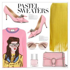 """So Sweet: Pastel Sweaters"" by queenvirgo ❤ liked on Polyvore featuring Gucci, Pleats Please by Issey Miyake, Nails Inc. and pastelsweaters"