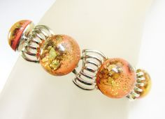 Vintage Peach Thermoset Confetti Bracelet by GrandVintageFinery