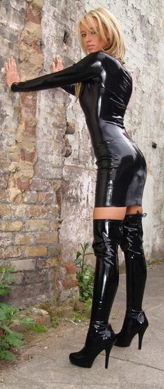 Latex dress and thigh boots