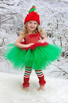 CHRISTMAS Tutu Dress ELF Tutu with hat Elf by AllDressedUpCouture, $60.00