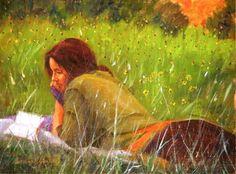 Lendo um poema Anthony A. González (EUA) óleo sobre tela www.obra-de-gonzalez.com