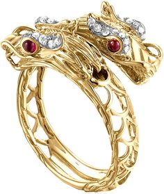 John Hardy Naga 18k Gold, Diamond & Ruby Gold Ring