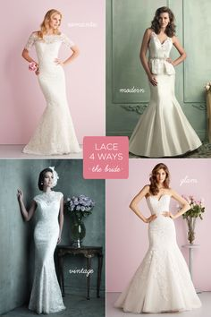 Lace, how do we love thee? Let us count the ways! Lace Four Ways by Allure Bridals. {Photo: Allure Bridals}