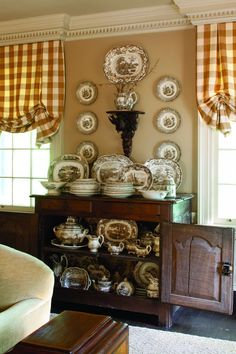 Beautiful collection of brown and white transferware - via The Cottage Journal