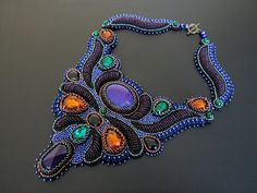 Dark blue necklace Embroidered necklace Chunky bib necklace Big bold necklace birthday ideas Un Bead Embroidery Jewelry, Beaded Jewelry, Beaded Necklace, Stone Necklace, Agate Necklace, Beaded Embroidery, Beaded Bead, Jacobean Embroidery, Gemstone Jewelry
