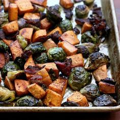 Roasted Brussels Sprouts and Sweet Potatoes with Bacon