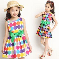 2014 Summer baby & kids clothing Kids Girls New Arrival Princess Multicolour Polka Dot Sleeveless Girl Dresses $14.88
