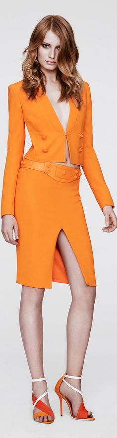 """RESORT 2014 Versace modeled by Actress Stana Katic, NYPD Det. Beckett on ABC-TV's """"Castle."""""""