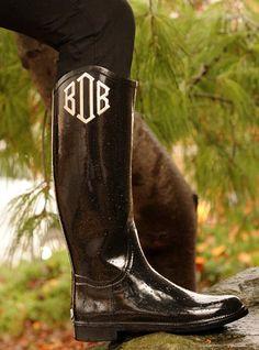 Cute Monogrammed Black Riding Rain Boots by MONOGRAMSINC, $89.00