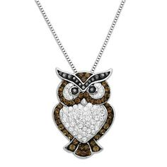 Add a touch of whimsy to your wardrobe with this sparkling owl necklace by Lauren Taylor. Fourteen black, 40 brown and 56 clear Swarovski Crystal Elements c