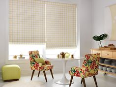 @DwellStudio for Robert Allen Modern Archive #Fabrics. (Chairs: Severine, Poppy Pillow/Ottoman: Marlo Squares, Lime Window Treatment: Painted Check, Citrine) #interiordesign #kitchen #upholstery