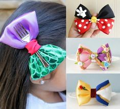 Need some for ri s hair when we go to disneyland heck some for my hair Disney Hair Bows, Diy Disney Ears, Disney Mickey Ears, Disney Diy, Disney Princess Hairstyles, Princess Hair Bows, Pelo Princesa Disney, Disneyland, Barrettes