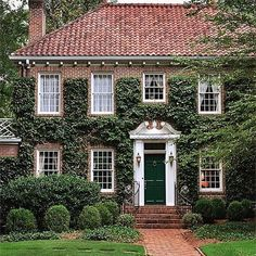 Beautiful curb appeal brick home with green vine . http://kristywicks.com: