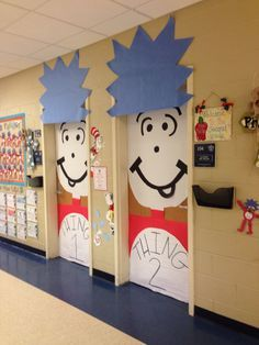 Thing one and thing two classroom door directions. Preschool Classroom, Classroom Themes, Classroom Organization, In Kindergarten, Classroom Walls, Dr. Seuss, Dr Seuss Week, Classroom Setting, Future Classroom