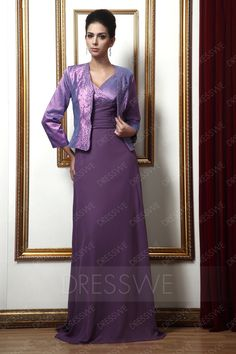 Buy  A-line V-neck Beading Long Taline's Mother of the Bride Dress With Jacket/Shawl  Online, Dresswe.Com offer high quality fashion,Price: USD$136.29